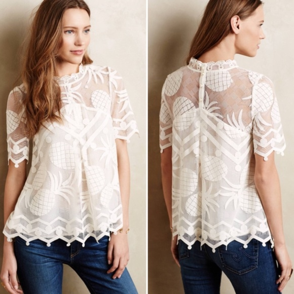 419c08c9f Anthropologie Tops | Hd In Paris White Pina Pineapple Lace Top 14 ...